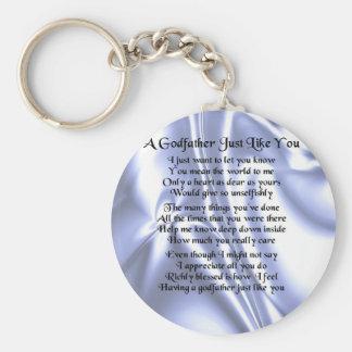 Blue Design  Godfather Poem Keychain