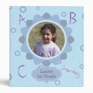 Blue Design Grade School Memories Photo Template 3 Ring Binder