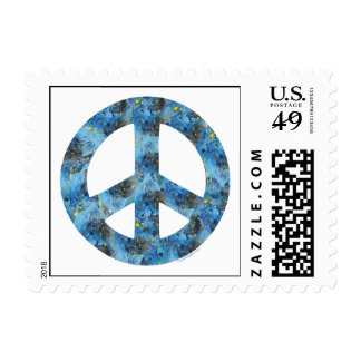 Blue Design of Peace Sign, Peace Symbol Postage Stamp