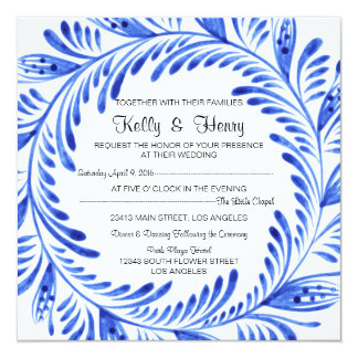 Blue Design Wedding Invitation