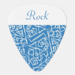 Blue design with a white line guitar pick