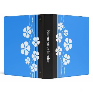 Blue Designer White Flowers Binders binder