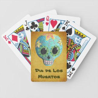 Blue Dia de Los Muertos Art Sugar Skull Bicycle Playing Cards