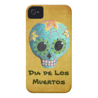 Blue Dia de Los Muertos Art Sugar Skull iPhone 4 Cover