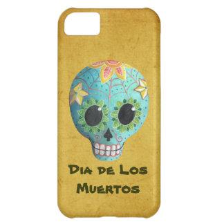 Blue Dia de Los Muertos Art Sugar Skull Cover For iPhone 5C