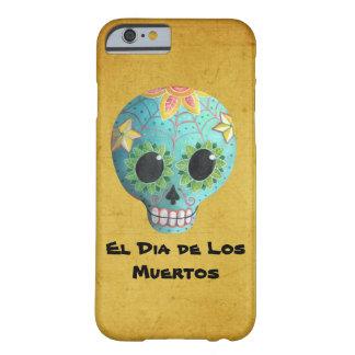Blue Dia de Los Muertos Art Sugar Skull Barely There iPhone 6 Case