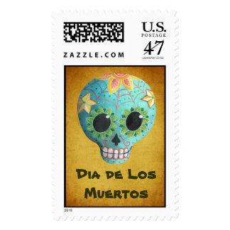 Blue Dia de Los Muertos Art Sugar Skull Postage
