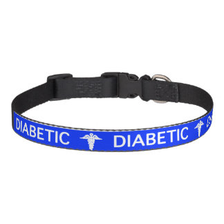 Blue Diabetic Dog medical alert Pet Collar