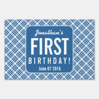 BLUE DIAGONAL PLAID 1st Birthday One Year Old Z07N Lawn Sign