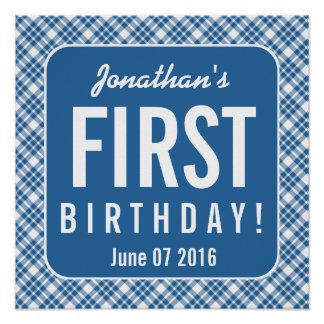 BLUE DIAGONAL PLAID 1st Birthday One Year Old Z07N Poster