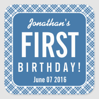 BLUE DIAGONAL PLAID 1st Birthday One Year Old Z07N Square Sticker