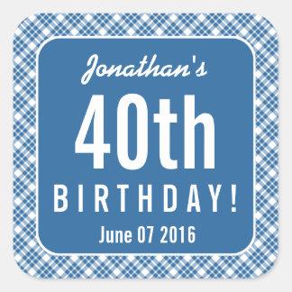 BLUE DIAGONAL PLAID 40th Birthday Party A01 Square Sticker
