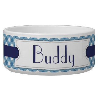 Blue Diagonal Plaid Personalized Pet Bowl