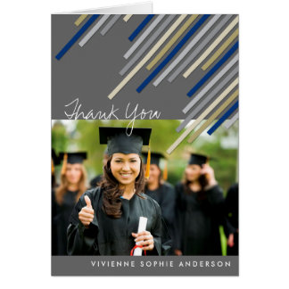 Blue Diagonal Stripes Graduation Thank You Card