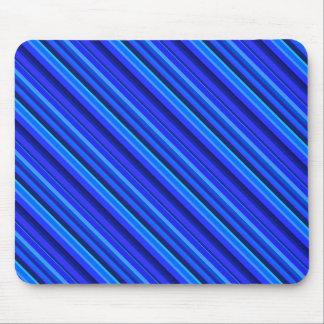 Blue diagonal stripes mouse pad