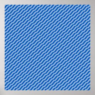 Blue Diagonal Zig Zag Pattern Poster