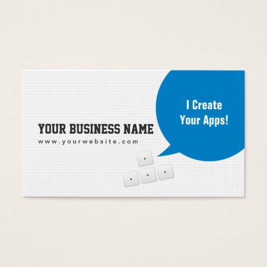 Blue dialog box app developer business card zazzle blue dialog box app developer business card reheart Images