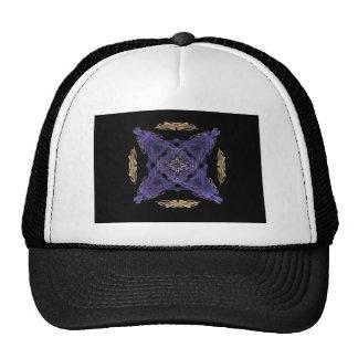 Blue Diamond and X on Gold Cirlce Fractal Art Trucker Hats