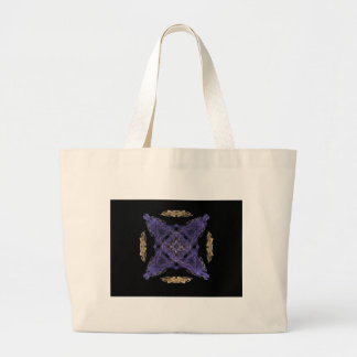 Blue Diamond and X on Gold Cirlce Fractal Art Large Tote Bag