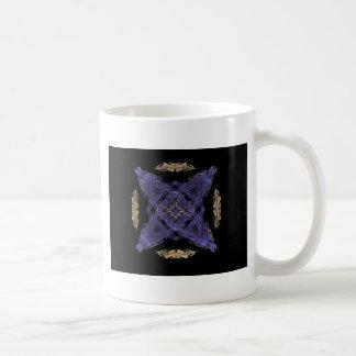 Blue Diamond and X on Gold Cirlce Fractal Art Mugs
