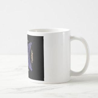 Blue Diamond and X on Gold Cirlce Fractal Art Coffee Mugs