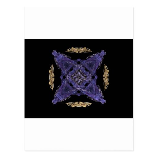 Blue Diamond and X on Gold Cirlce Fractal Art Post Card