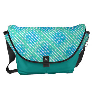 Blue Diamond Barbed Wire Barb Fencing Mint Green Messenger Bag