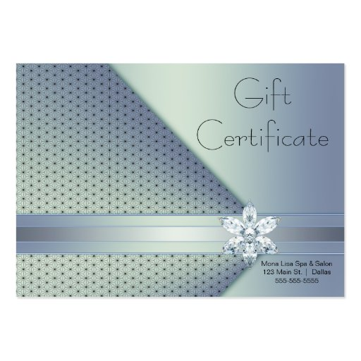 Blue Diamond Business Gift Certificate Cards Business Card
