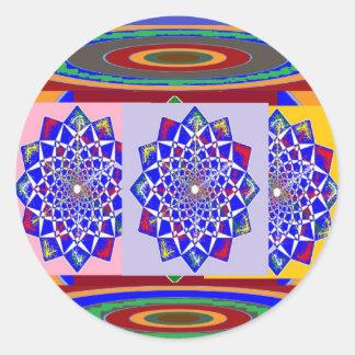 BLUE DIAMOND Chakra Wheel Flower Royal Classic Round Sticker