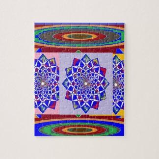 BLUE DIAMOND Chakra Wheel Flower Royal Jigsaw Puzzle