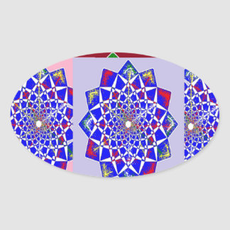 BLUE DIAMOND Chakra Wheel Flower Royal Oval Sticker