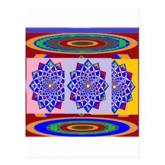 BLUE DIAMOND Chakra Wheel Flower Royal Postcard