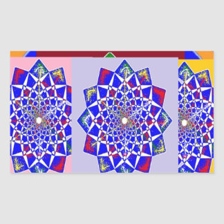BLUE DIAMOND Chakra Wheel Flower Royal Rectangular Sticker