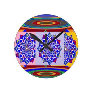 BLUE DIAMOND Chakra Wheel Flower Royal Round Clock