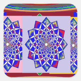 BLUE DIAMOND Chakra Wheel Flower Royal Square Sticker