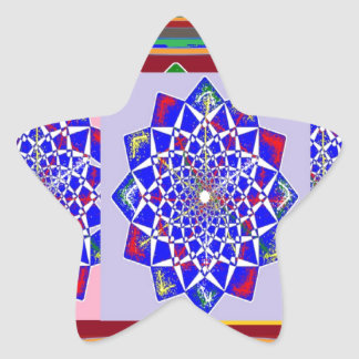 BLUE DIAMOND Chakra Wheel Flower Royal Star Sticker