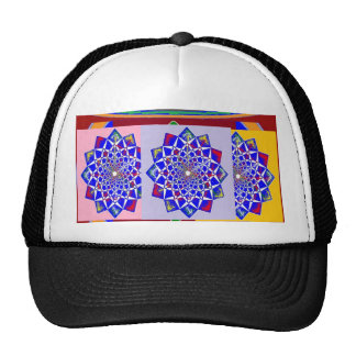BLUE DIAMOND Chakra Wheel Flower Royal Trucker Hat