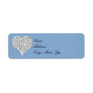 Blue Diamond Heart Address Labels
