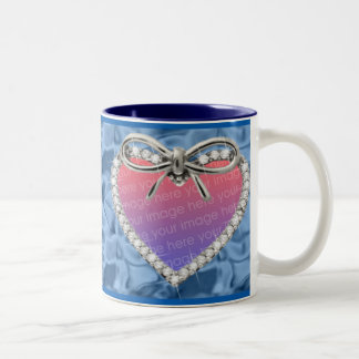 Blue Diamond Heart Frame Mug