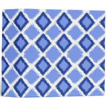 Blue Diamond Ikat Pattern 3 Ring Binder