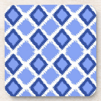 Blue Diamond Ikat Pattern Drink Coaster