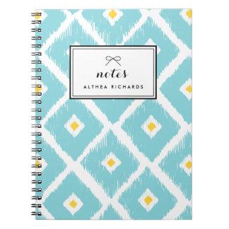 Blue Diamond Ikat Pattern Personalized Notebook