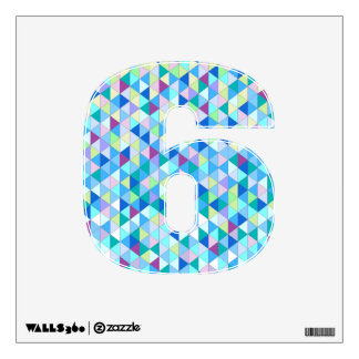 Blue Diamond Jubilee Wall Decal Number Six-Small