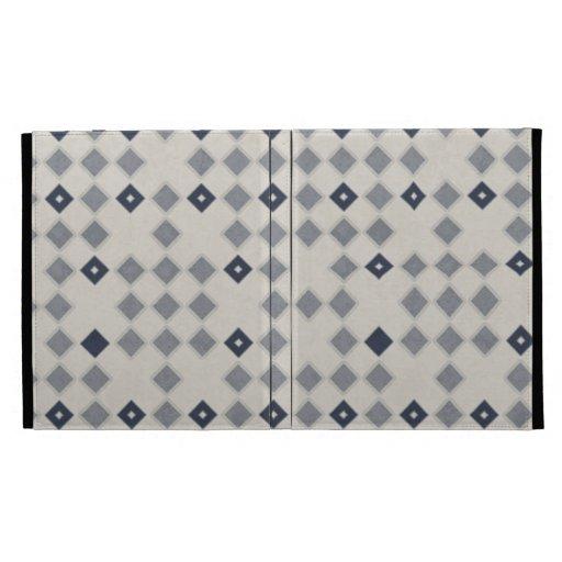 Blue Diamond Mosaic Pattern iPad Folio Cover