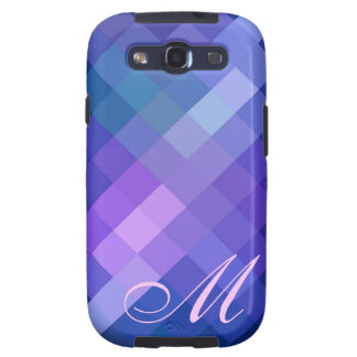 Blue Diamond Pattern and Monogram Samsung Galaxy SIII Case