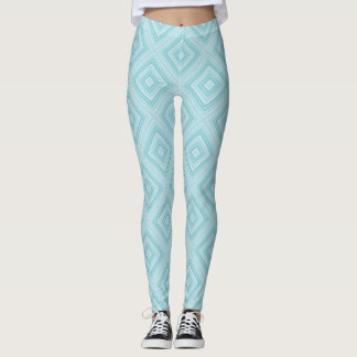 Blue Diamond Pattern Leggings