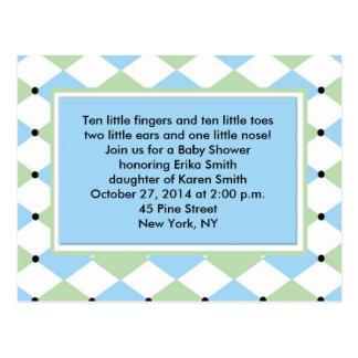 Blue Diamond Plaid Invitation Post Cards