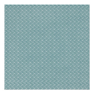 Blue Diamond Plate Backdrop Canvas Poster