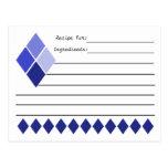 Blue Diamond Retro Recipe Cards Postcard