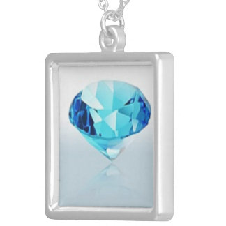 BLUE DIAMOND SILVER PLATED NECKLACE